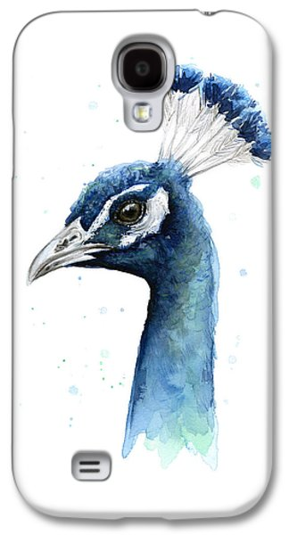 Peacock Watercolor Galaxy S4 Case by Olga Shvartsur
