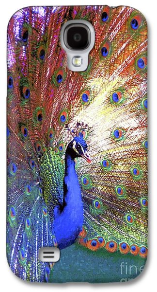 Peacock Wonder, Colorful Art Galaxy S4 Case by Jane Small