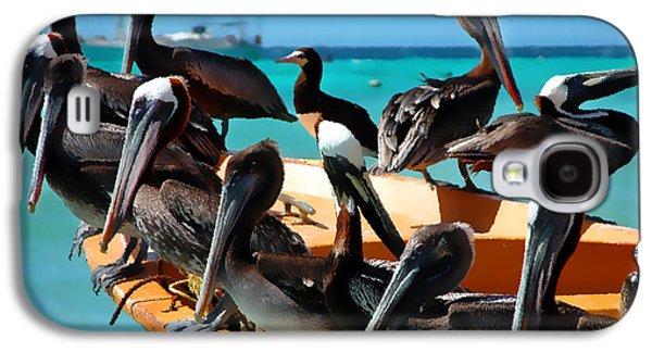 Pelicans On A Boat Galaxy S4 Case by Bibi Romer