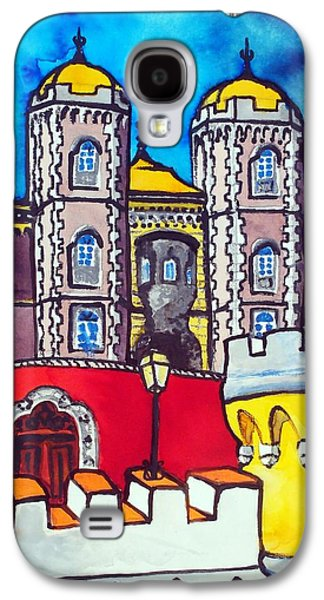 Galaxy S4 Case featuring the painting Pena Palace In Sintra Portugal  by Dora Hathazi Mendes