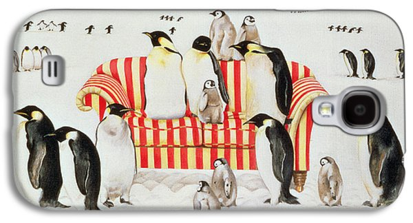 Penguins On A Red And White Sofa  Galaxy S4 Case