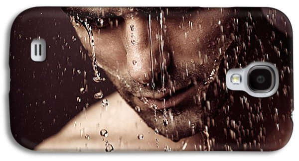 Pensive Man Face Under Showering Water Galaxy S4 Case