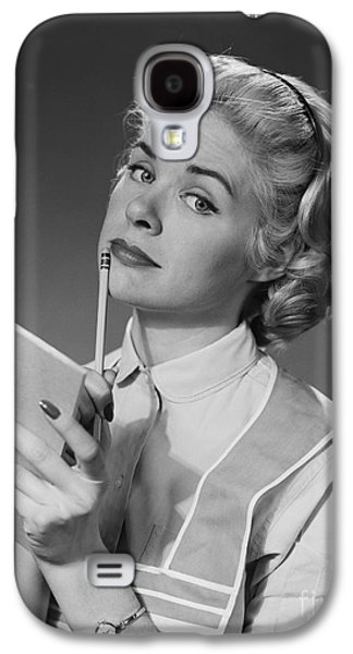Pensive Woman With Pencil And Paper Galaxy S4 Case by H. Armstrong Roberts/ClassicStock
