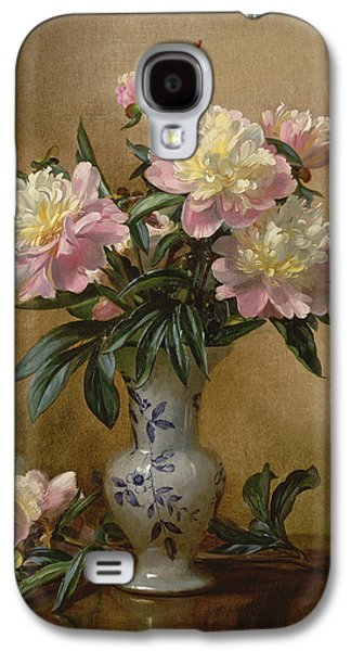 Peonies In A Blue And White Vase Galaxy S4 Case by Albert Williams