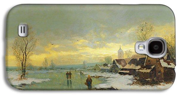People Walking On A Frozen River  Galaxy S4 Case