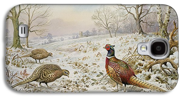 Pheasant And Partridges In A Snowy Landscape Galaxy S4 Case by Carl Donner