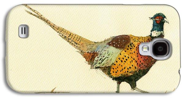 Pheasant Galaxy S4 Case - Pheasant Bird Art by Juan  Bosco