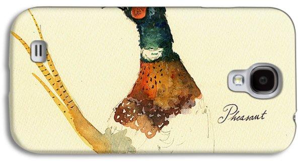 Pheasant Galaxy S4 Case - Pheasant Painting by Juan  Bosco