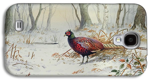 Pheasants In Snow Galaxy S4 Case by Carl Donner