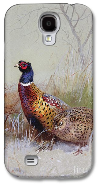 Pheasants In The Snow Galaxy S4 Case by Archibald Thorburn