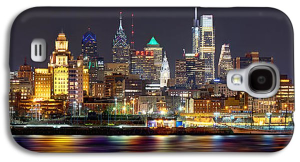 Cities Galaxy S4 Case - Philadelphia Philly Skyline At Night From East Color by Jon Holiday