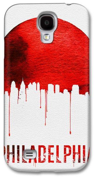 Philadelphia Skyline Redskyline Red Galaxy S4 Case by Naxart Studio