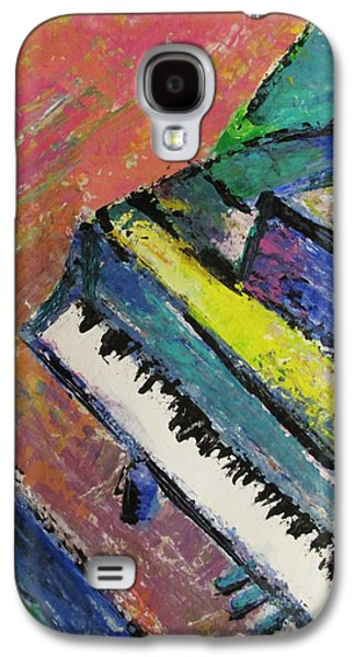 Splashy Galaxy S4 Cases - Piano with Yellow Galaxy S4 Case by Anita Burgermeister