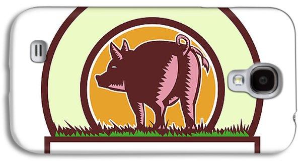 Pig Tail Rear Circle Woodcut Galaxy S4 Case