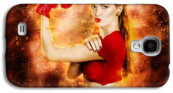 Pin Up Boxing Girl  Galaxy S4 Case by Jorgo Photography - Wall Art Gallery