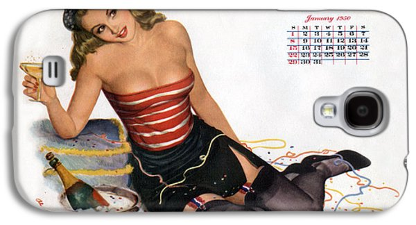 Pin Up Celebrating New Year With Champagne Galaxy S4 Case by American School