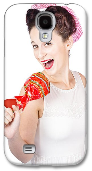 Pin-up Girl Singing Into Large Lollypop Microphone Galaxy S4 Case by Jorgo Photography - Wall Art Gallery