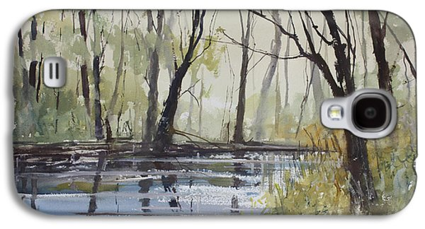 Pine Paintings Galaxy S4 Cases - Pine River Reflections Galaxy S4 Case by Ryan Radke