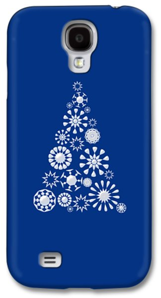 Pine Tree Snowflakes - Dark Blue Galaxy S4 Case