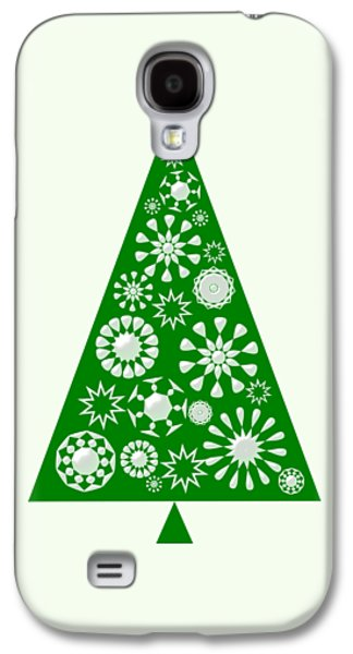 Pine Tree Snowflakes - Green Galaxy S4 Case by Anastasiya Malakhova