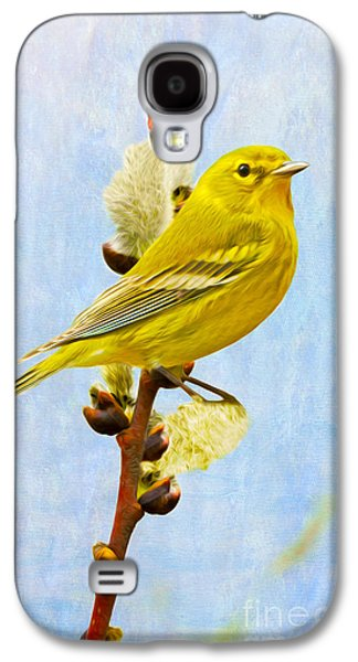 Warbler Galaxy S4 Case - Pine Warbler On Willow Catkin by Laura D Young