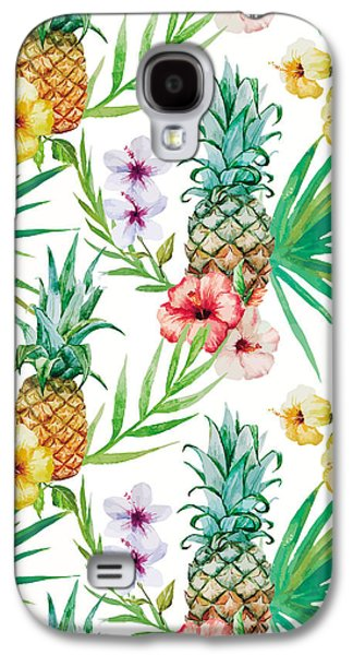 Pineapple And Tropical Flowers Galaxy S4 Case