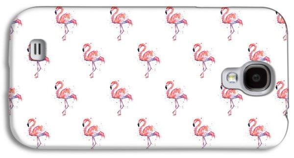 Pink Flamingo Watercolor Pattern Galaxy S4 Case by Olga Shvartsur
