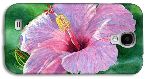 Pink Hibiscus Flower With Leafy Background Galaxy S4 Case by Sharon Freeman