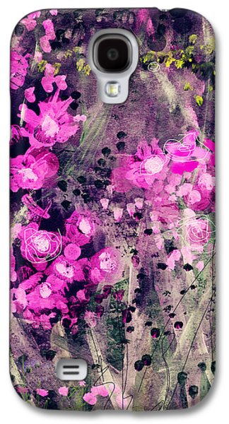 Floral Abstract Galaxy S4 Case - Pink Majestic Garden- Art By Linda Woods by Linda Woods