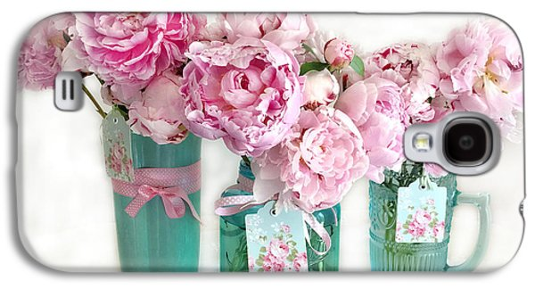 Pink Peonies In Aqua Vases Romantic Watercolor Print - Pink Peony Home Decor Wall Art Galaxy S4 Case