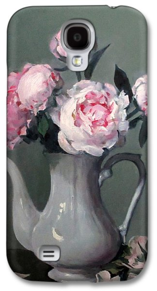 Pink Peonies In White Coffeepot Galaxy S4 Case