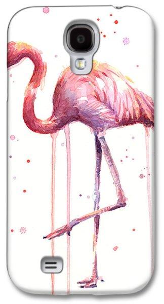 Pink Watercolor Flamingo Galaxy S4 Case