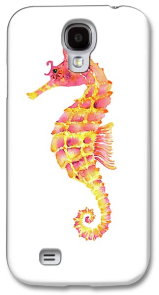 Pink Yellow Seahorse - Square Galaxy S4 Case by Amy Kirkpatrick