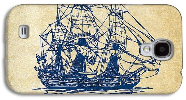 Pirate Ship Artwork - Vintage Galaxy S4 Case by Nikki Marie Smith