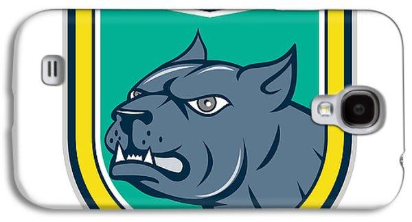 Pitbull Dog Mongrel Head Side Shield Cartoon Galaxy S4 Case