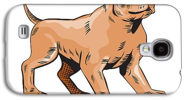 Pitbull Dog Mongrel Standing Etching Galaxy S4 Case