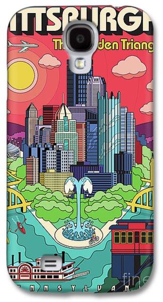 Bridges Galaxy S4 Case - Pittsburgh Poster - Pop Art - Travel by Jim Zahniser