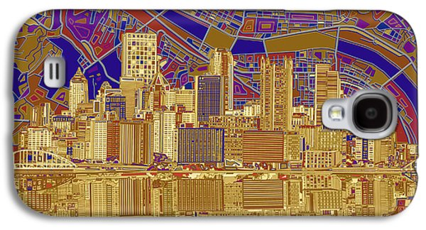 Pittsburgh Skyline Abstract 3 Galaxy S4 Case by Bekim Art