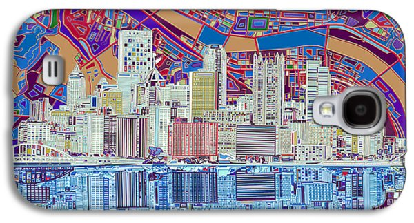 Pittsburgh Skyline Abstract 6 Galaxy S4 Case by Bekim Art