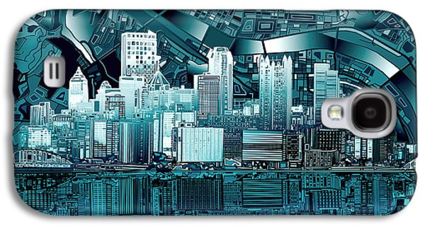 Pittsburgh Skyline Abstract Blue Galaxy S4 Case by Bekim Art