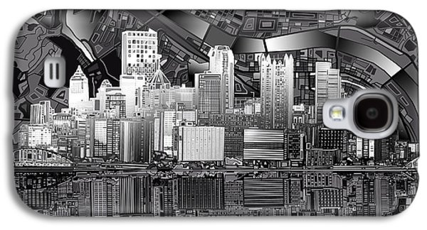 Pittsburgh Skyline Abstract Bw Galaxy S4 Case
