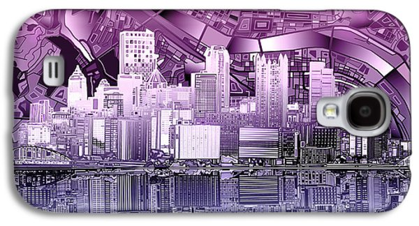 Pittsburgh Skyline Abstract Purple Galaxy S4 Case