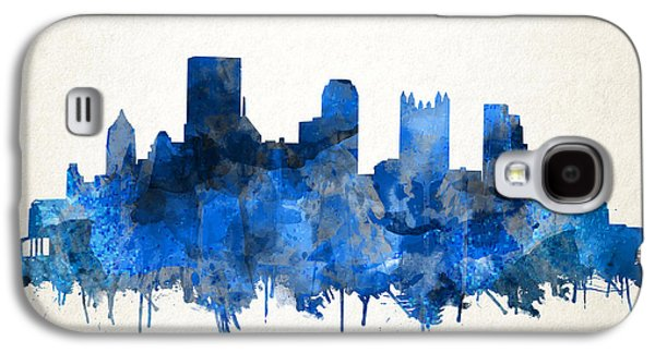 Pittsburgh Skyline Watercolor Blue Galaxy S4 Case