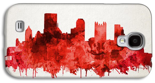 Pittsburgh Skyline Watercolor Red Galaxy S4 Case