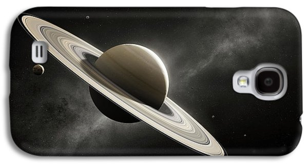 Planet Saturn With Major Moons Galaxy S4 Case by Johan Swanepoel