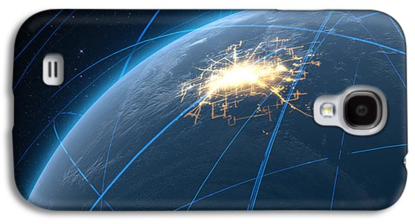 Planet With Illuminated City And Light Trails Galaxy S4 Case by Allan Swart