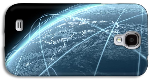 Planet With Illuminated Light Trails Galaxy S4 Case by Allan Swart
