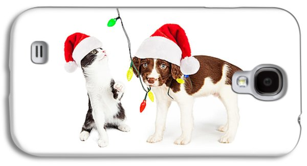 Playful Christmas Kitten And Puppy Galaxy S4 Case by Susan Schmitz