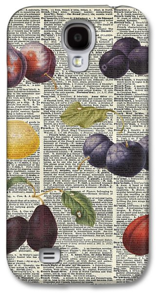 Plums Vintage Illustration Over A Old Dictionary Page Galaxy S4 Case by Jacob Kuch