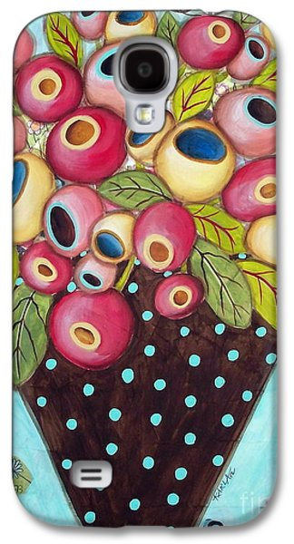 Still Life Mixed Media Galaxy S4 Cases - Polka Dot Pot Galaxy S4 Case by Karla Gerard